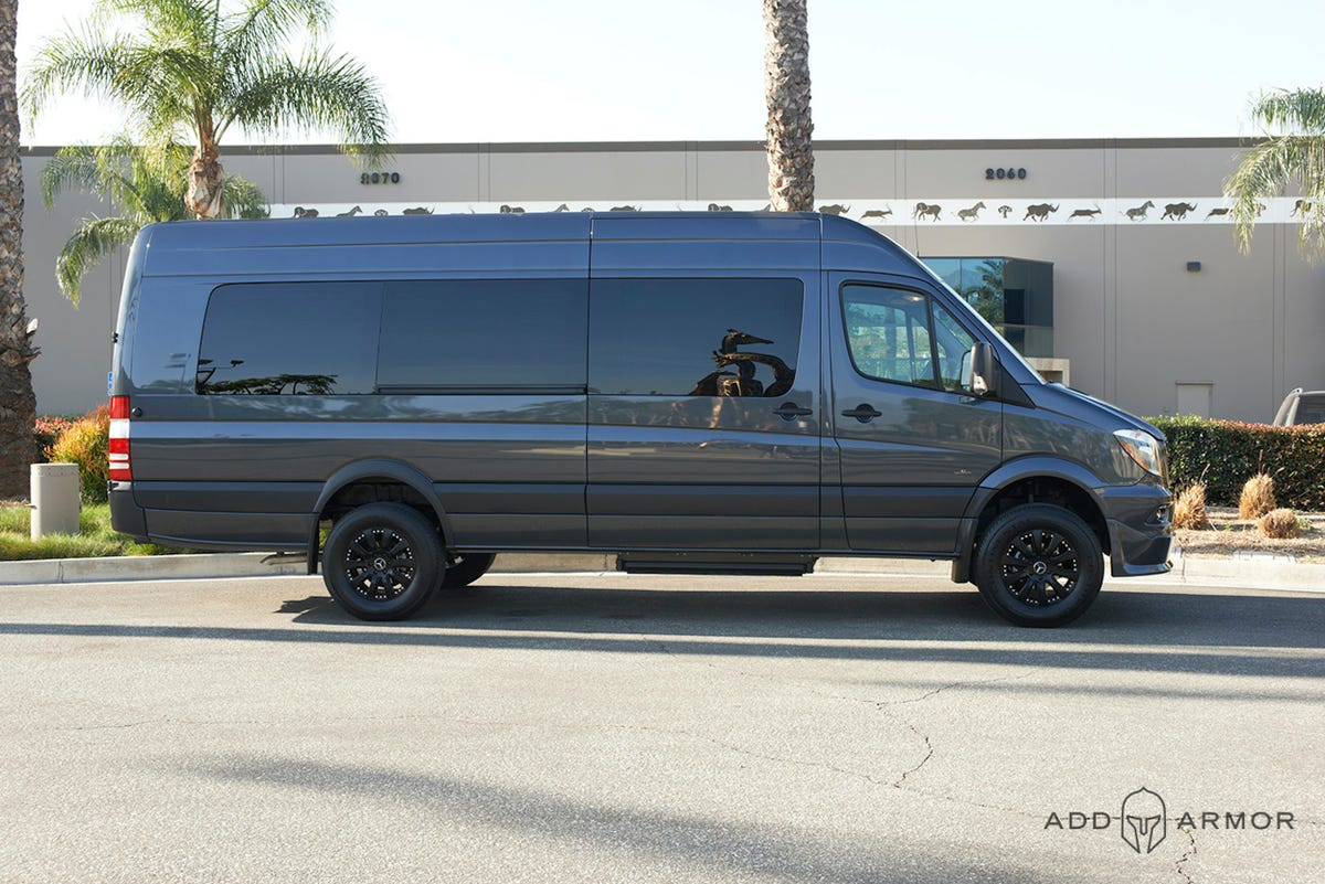 Side Profile of Extended AddArmor Sprinter for vanlife safety