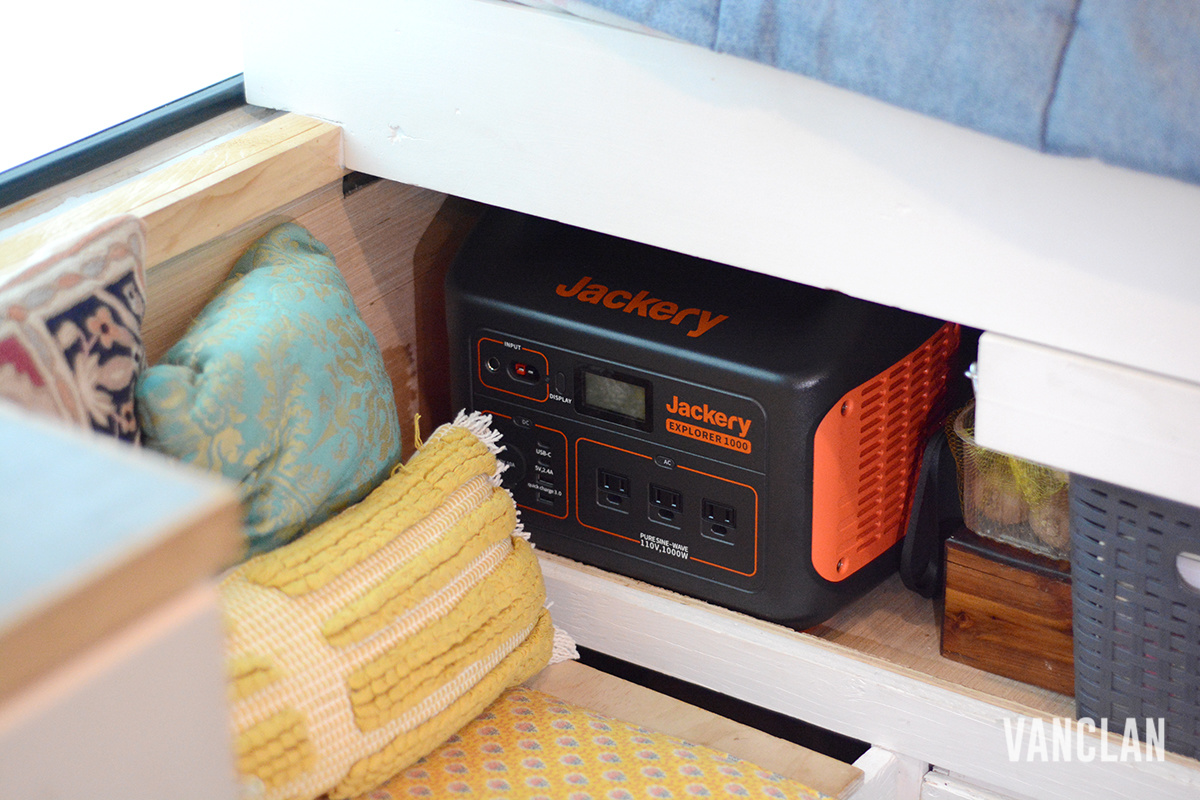 Jackery Explorer 1000 Stored on a shelf in our van
