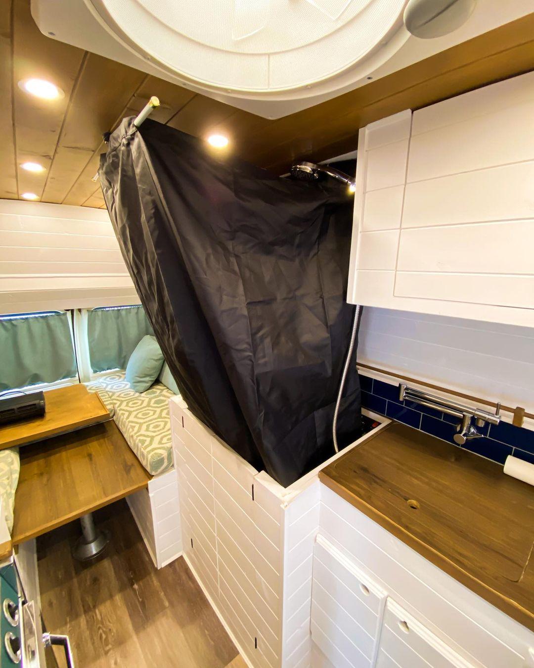 modular shower in diy van 3