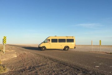 My van in Utah, enjoying the salt flats