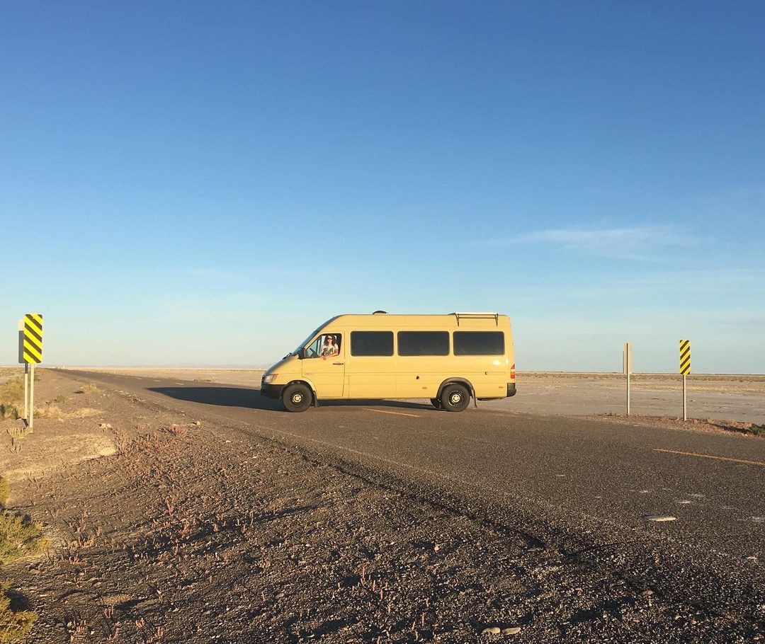 My van in Utah, enjoying the salt flats